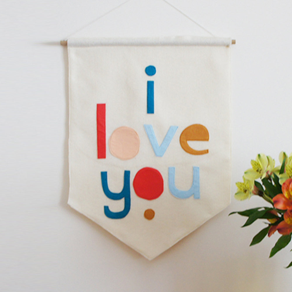 I LOVE YOU felt banner flag - Connie Clementine