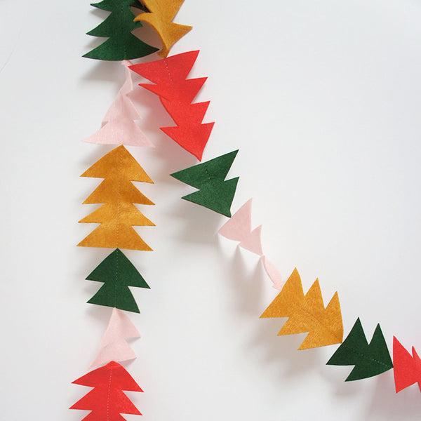 Trees And Triangles Felt Christmas Garland - Connie Clementine