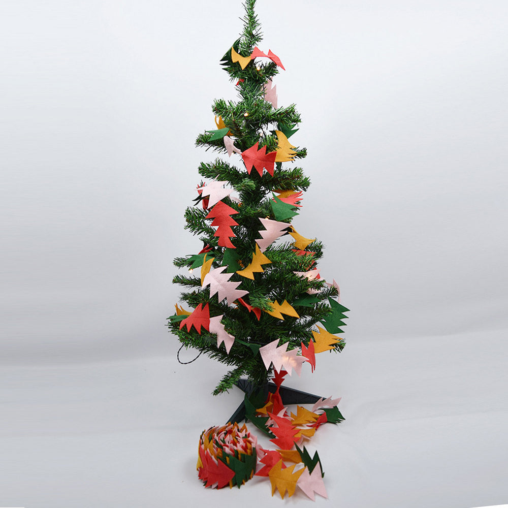 trees and triangles felt christmas garland connie clementine - Felt Christmas Garland