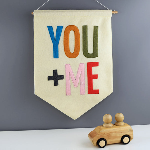 You + Me Felt Banner Wall Flag - Connie Clementine