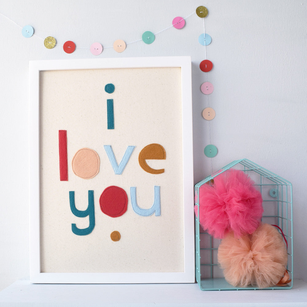 I Love You Typographical Felt Artwork - Connie Clementine