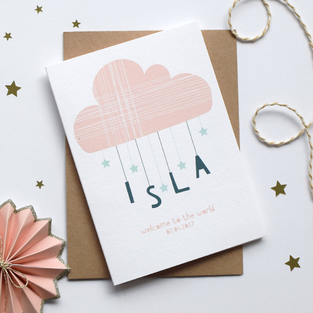 Personalised Cloud And Stars New Born Card Pink - Connie Clementine