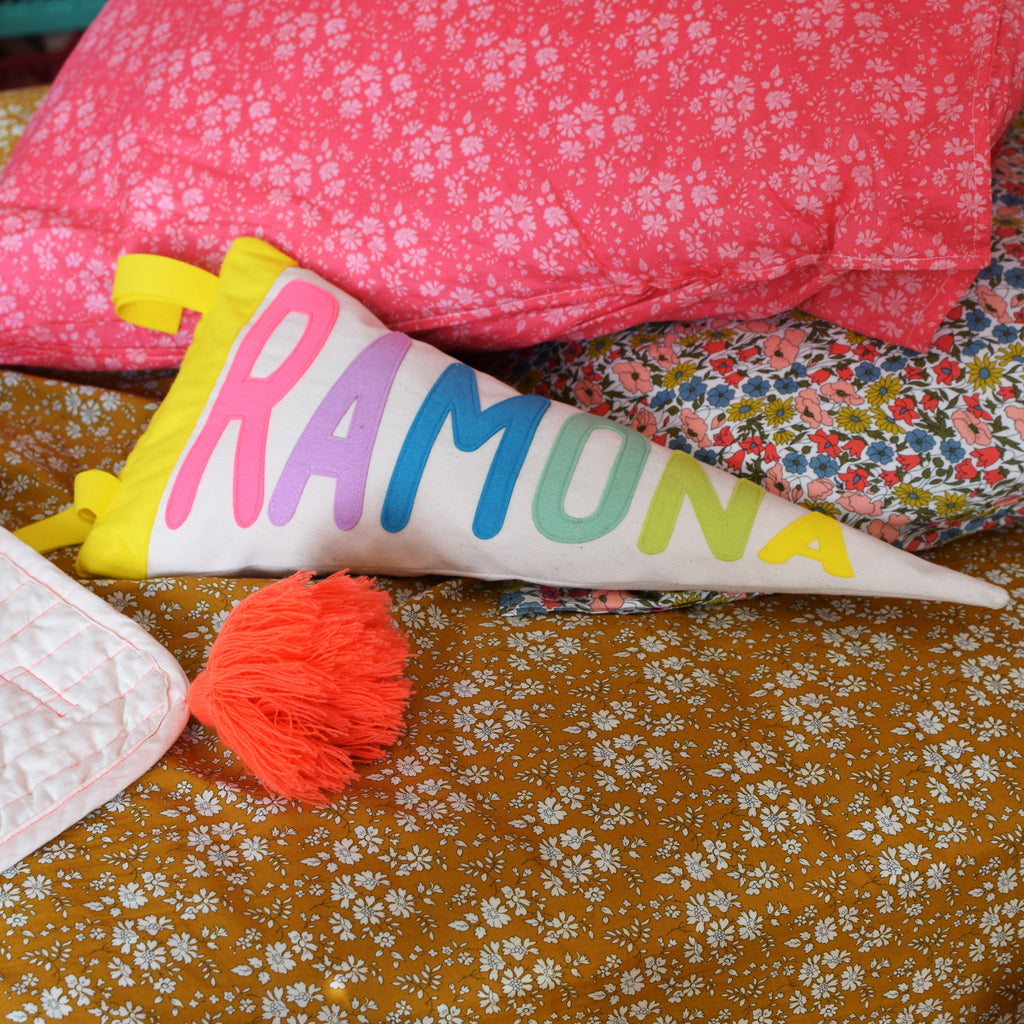Personalised pennant cushion - Connie Clementine