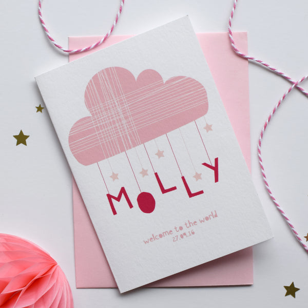 Personalised Cloud And Stars New Born Card Pink