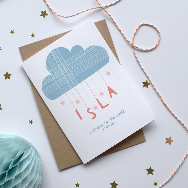 Personalised Cloud And Stars New Born Card Blue - Connie Clementine