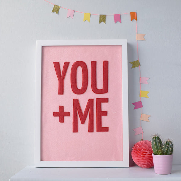 You + Me Textile Artwork Pink and Red - Connie Clementine