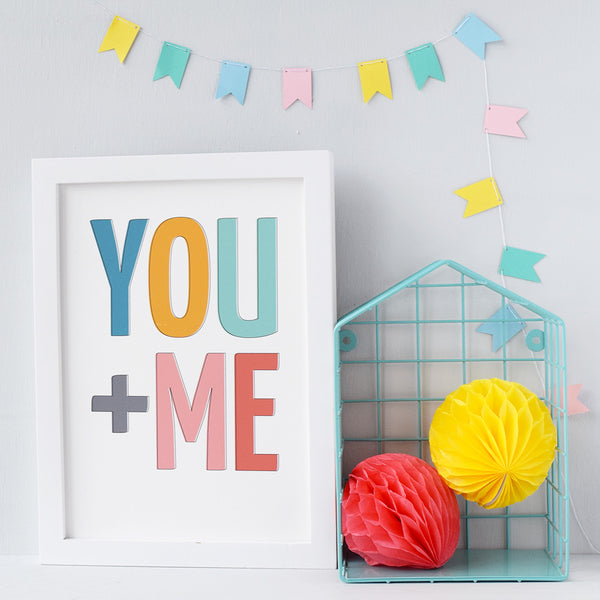 YOU + ME Typographic Print - Connie Clementine