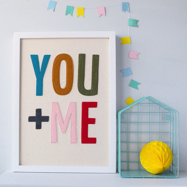 You + Me Textile Artwork Multi Coloured - Connie Clementine