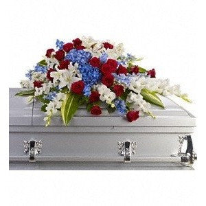 Pink, Red and Lavander Flowers Cross Sympathy Casket Spray