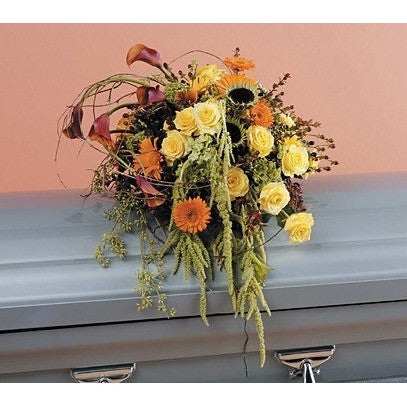 Calid Color Flowers Sympathy Casket Spray in Miami & Hialeah - Flowers by Pouparina