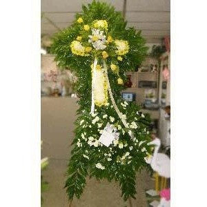White and Yellow Sympathy Cross - Flowers by Pouparina