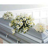 White Lilies and Roses Casket Spray - Flowers by Pouparina