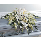 White Flowers Sympathy Casket Spray - Flowers by Pouparina