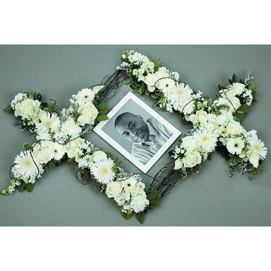 White Flowers Sympathy Tribute Frame - Flowers by Pouparina