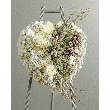 Half Heart Dried Flowers and Half Fresh Flowers Standing Spray - Flowers by Pouparina