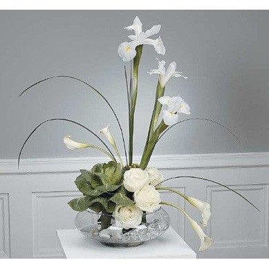 White Roses, Mini Callas, and Japhette Orchid Sympathy Plants - Flowers by Pouparina