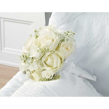 White Flowers Bouquet Casket Inlet - Flowers by Pouparina