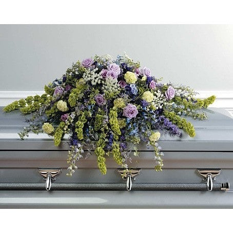 Purple and Lavander Funeral Casket Spray - Flowers by Pouparina