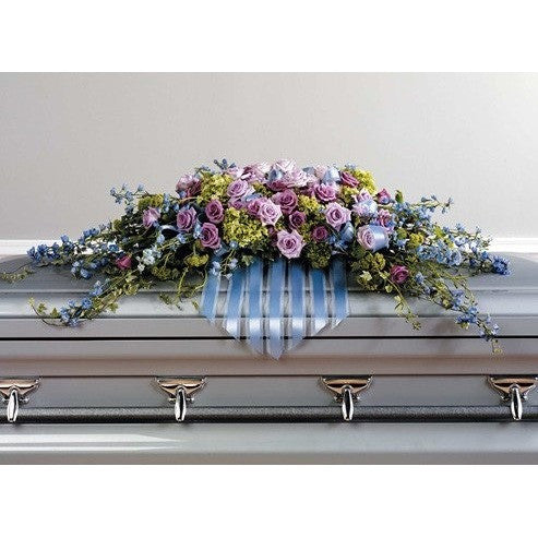 Blue, Lavander and Purple Flowers with Hanging Ribbons Sympathy Casket Spray - Flowers by Pouparina