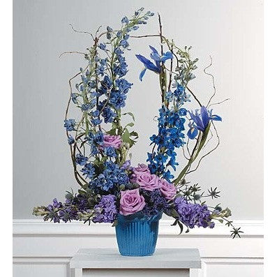 Blue and Lavander Sympathy Basket Spray - Flowers by Pouparina