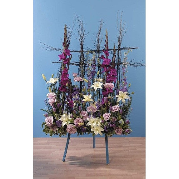 Purple, Lavander and White Sympathy Standing Spray - Flowers by Pouparina