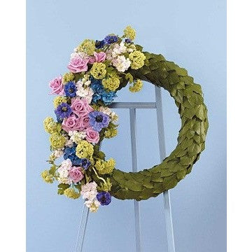Wreath with Salal Leaves and Pastel Color Flowers Standing Spray - Flowers by Pouparina