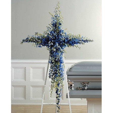 Blue Delphinium Cross Standing Spray - Flowers by Pouparina
