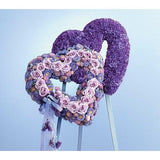 Double Purple and Lavander Hearts Standing Spray - Flowers by Pouparina