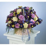 Lavander Roses, Purple and White Carnations in Wicker Basket with Ribbon Sympathy Basket - Flowers by Pouparina