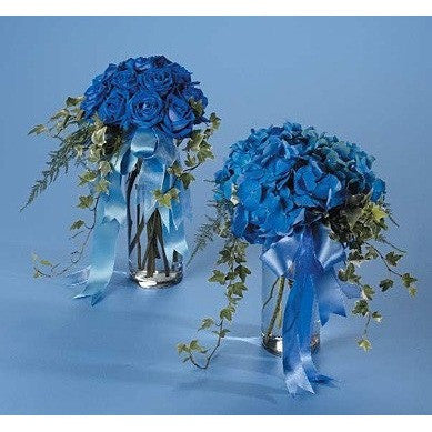 Blue Hydrangea and Blue Roses with Ivy and Ribbon - Flowers by Pouparina