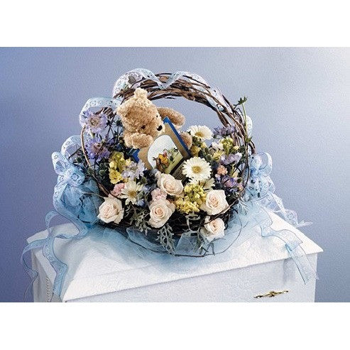 Sympathy Blue Baby Basket with Teddy Bear - Flowers by Pouparina