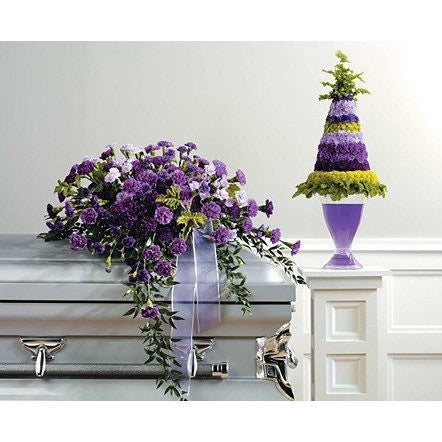 Purple Half Couch Casket Spray and Basket Sympathy Package - Flowers by Pouparina