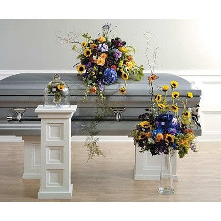 Blue and Yellow 3 Pieces Funeral Package - Flowers by Pouparina