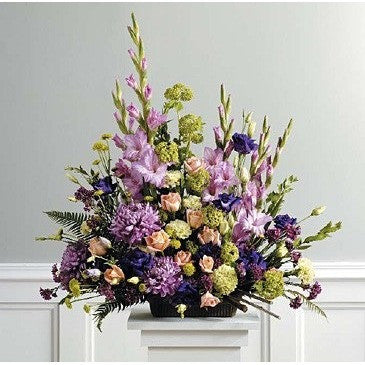 Purple, Lavender and Green Funeral Basket - Flowers by Pouparina