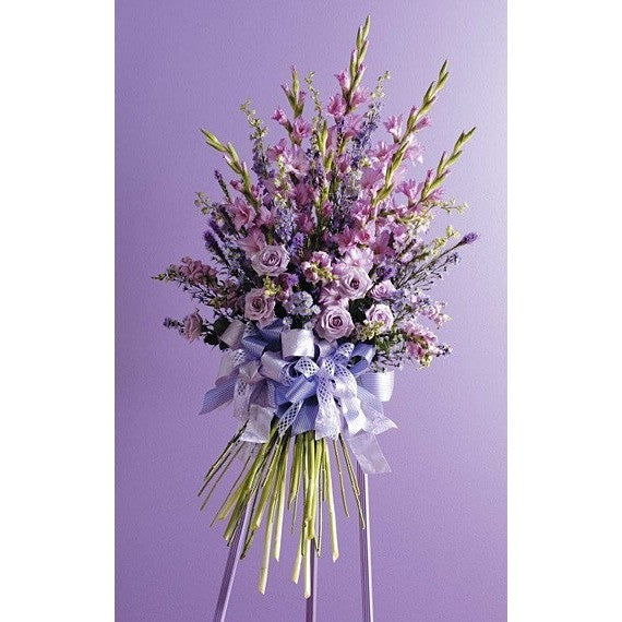 Lavander and Purple Sympathy Standing Spray with Ribbon - Flowers by Pouparina