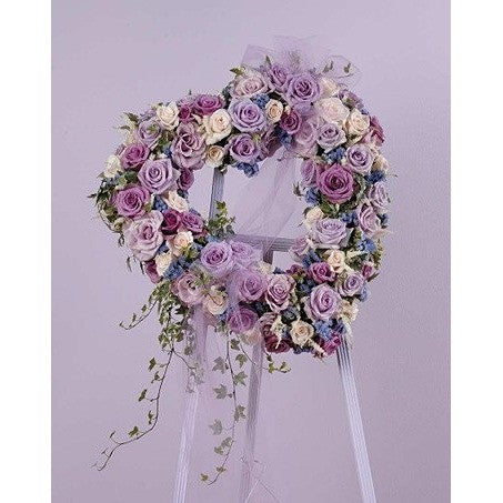 Lavander and Purple Heart with Ribbon Standing Spray - Flowers by Pouparina
