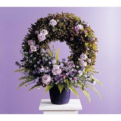Lavander Wreath Funeral Basket - Flowers by Pouparina