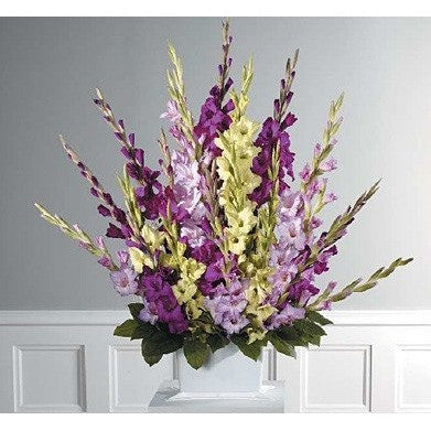 Purple, Lavander and Green Gladiolus Sympathy Basket Spray - Flowers by Pouparina