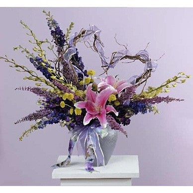 Lavender Lilies Blue and Purple Sympathy Basket - Flowers by Pouparina