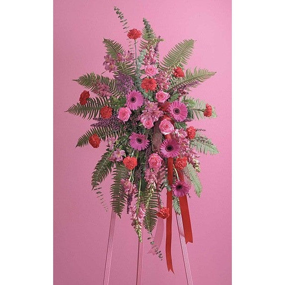Pink and Red Flowers with Ribbon Sympathy Standing Spray - Flowers by Pouparina