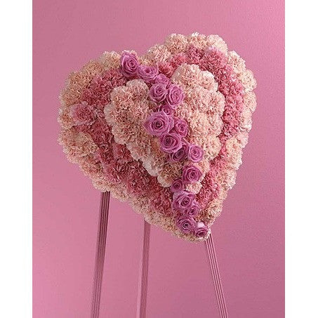 Half Heart Dried Flowers and Half Fresh Flowers Standing Spray