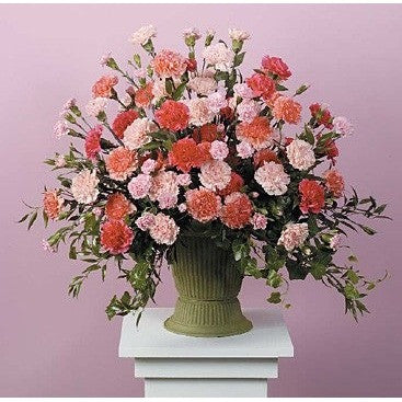 Pink and Red Carnation Sympathy Basket - Flowers by Pouparina