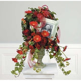 Red Flowers and Ivy Sympathy Tribute - Flowers by Pouparina