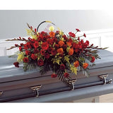 Tennis Player Custome Motive Sympathy Casket Spray with Red and Orange Flowers - Flowers by Pouparina