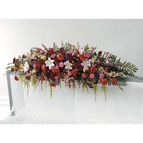Full Couch Lid Spray Sympathy Casket Spray - Flowers by Pouparina