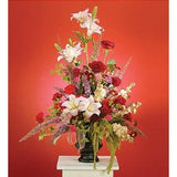 White Lilies and Red Roses Sympathy Basket - Flowers by Pouparina
