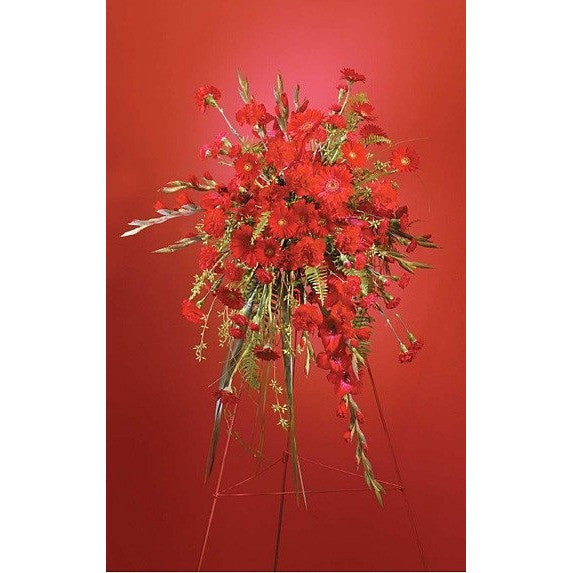 Red Gerberas and Gladiolus Sympathy Standing Spray - Flowers by Pouparina