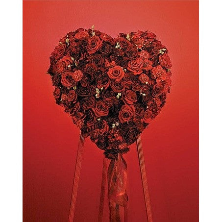 Red Roses Heart with Ribbon Standing Spray - Flowers by Pouparina