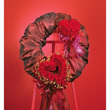Red Satin Wreath with Red Hearts Roses Standing Spray - Flowers by Pouparina