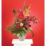 Red Gerbera Red Anthuriums and Red Orquids Sympathy Basket - Flowers by Pouparina